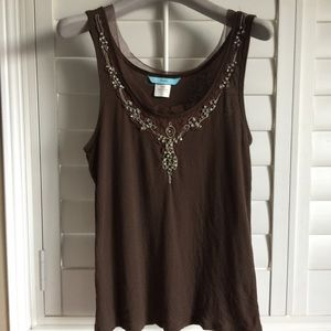 Marciano fitted tank top with lace and crystals